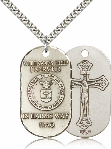 Bliss Mfg Air Force Crucifix Dog Tag Necklace
