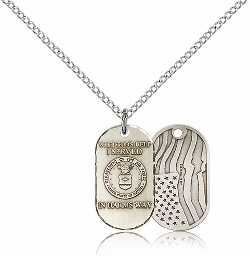 Bliss Mfg Air Force Dog Tag Medal Necklace w/American Flag