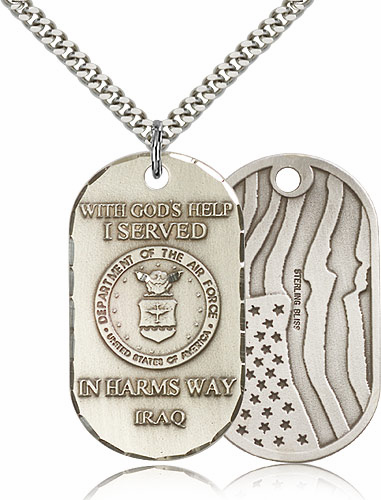 Bliss Mfg Air Force Dog Tag Medal w/American Flag Necklace