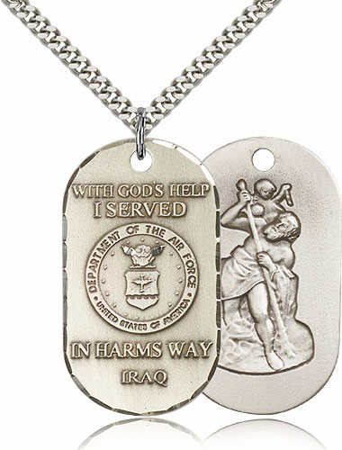Bliss Mfg Air Force St Christopher Dog Tag Iraq Medal Necklace