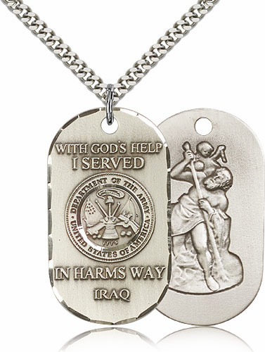 Bliss Mfg Army St Christopher Dog Tag Iraq Necklace