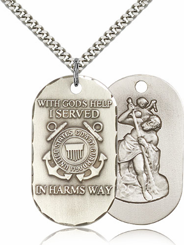 Bliss Mfg Coast Guard St Christopher Dog Tag Medal Necklace