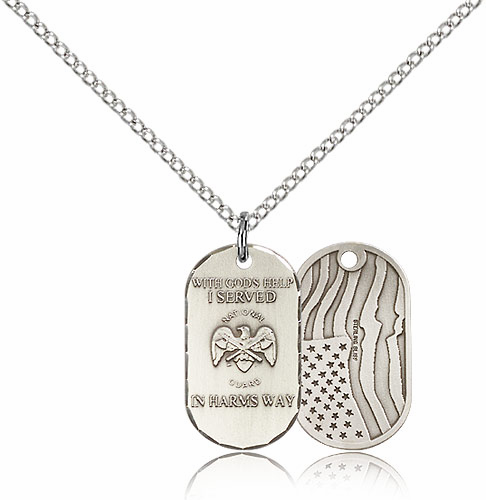 Bliss Mfg National Guard Dog Tag Medal Necklace w/American Flag
