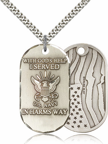 Bliss Mfg Navy Dog Tag Medal Necklace w/American Flag
