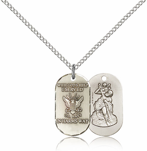 Bliss Mfg Navy St Christopher Medal Necklace