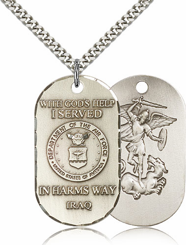 Bliss Mfg St Michael Air Force Dog Tag Necklace