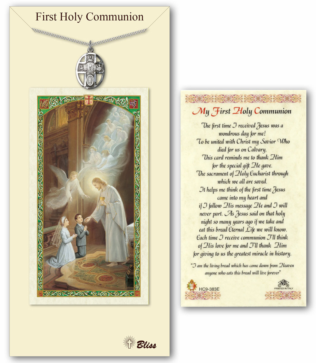 Bliss My First Holy Communion Pewter Pendant and Prayer Card Set