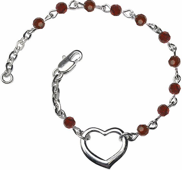Bliss Silver-plated Heart Birthstone Crystal Bracelets