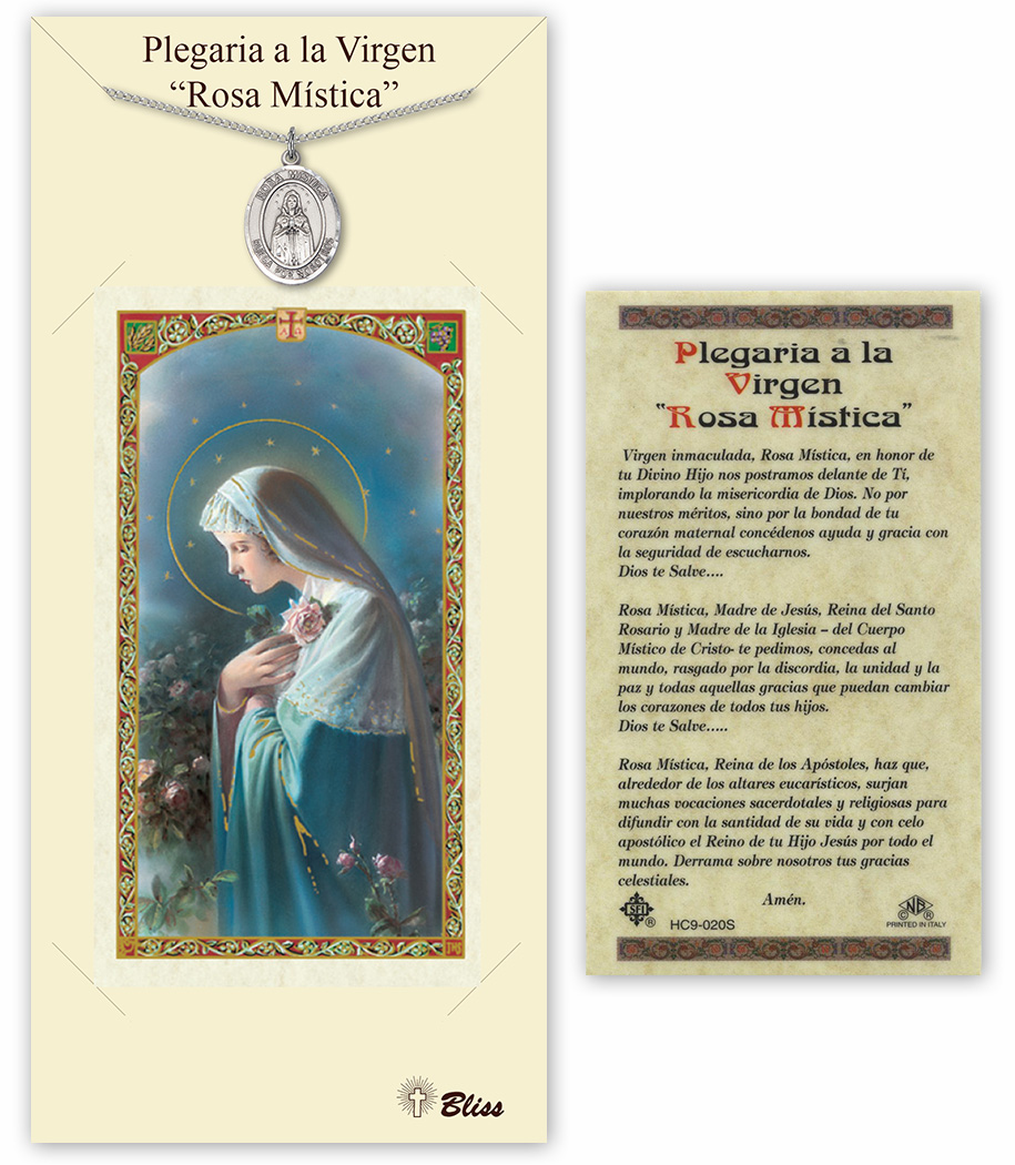 Bliss Spanish Our Lady of Rosa Mystica Necklace and Prayer Card Set