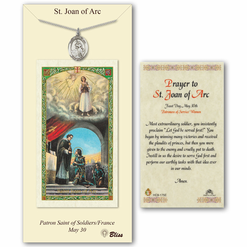 Bliss st joan of arc prayer card and pewter pendant necklace gift set aloadofball Gallery