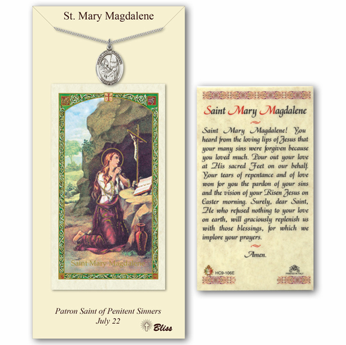 Bliss st mary magdalene prayer card and pewter pendant necklace gift set mozeypictures Choice Image