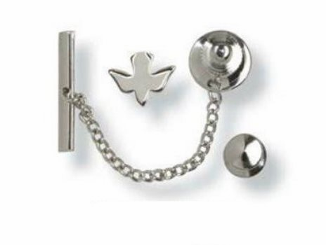 Bliss Sterling Silver Hand-Engraved Holy Spirit Dove Tie Tacs Medal