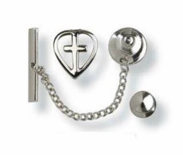 Bliss Sterling Silver Heart with Cross Tie Tacs Medal