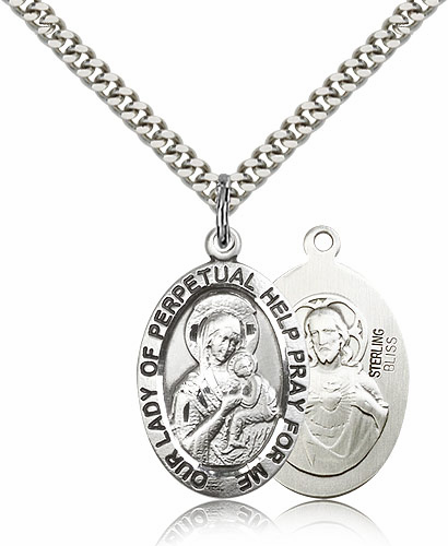 Bliss Sterling Silver Our Lady of Perpetual Help Pendant Necklace