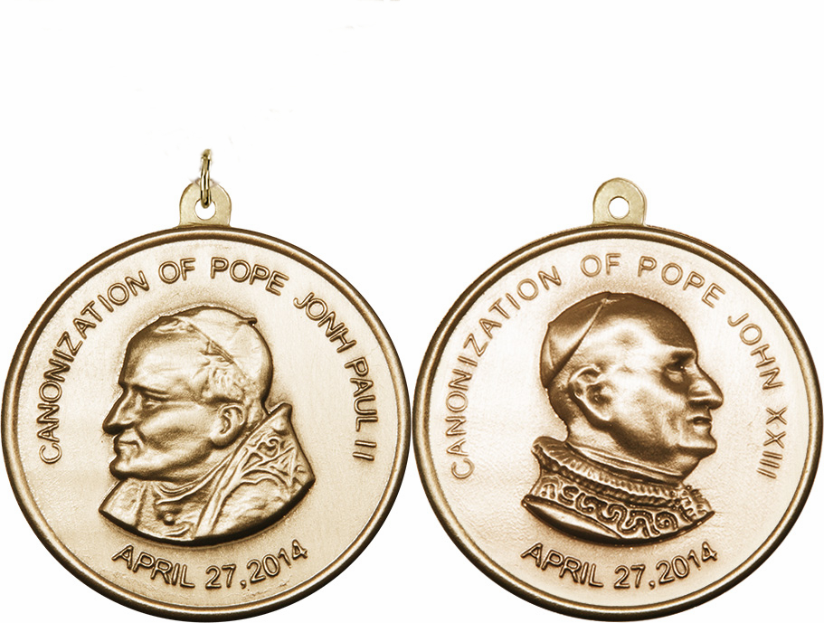 Canonization Pope John Paul II and Pope John XXIII 14kt Gold Medallion by Bliss