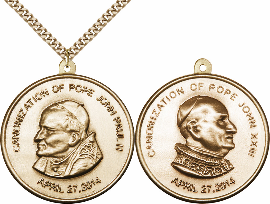 Canonization Pope John Paul II and Pope John XXIII Antique Brass Necklace