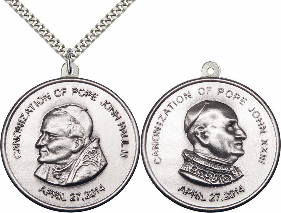 Canonization Pope John Paul II and Pope John XXIII Sterling Necklace