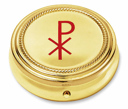 Chi Rho Eucharist Pyx with Gold Finished 3pc Sets by Stratford Chapel