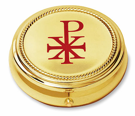 Chi Rho Hospital Eucharist Pyx with Gold Finished 2pc Sets by Stratford Chapel