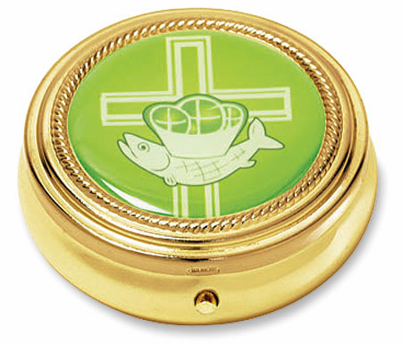 Cross with Loaves and Fish Epoxy Communion Pyx by Stratford Chapel