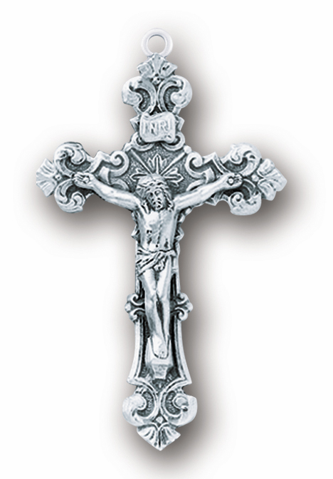 Elegant Ornate Sterling Silver Crucifix Catholic Rosary Part by HMH Religious
