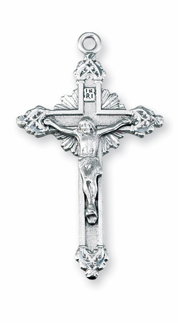 Fancy Radiant Sterling Silver Crucifix Pendant Necklace by HMH Religious