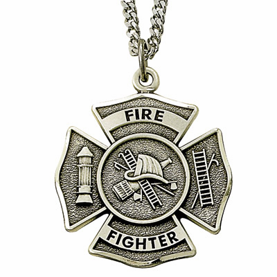 Fire Fighter Shield Sterling Silver Medal w/Christian Cross Necklace by Singer