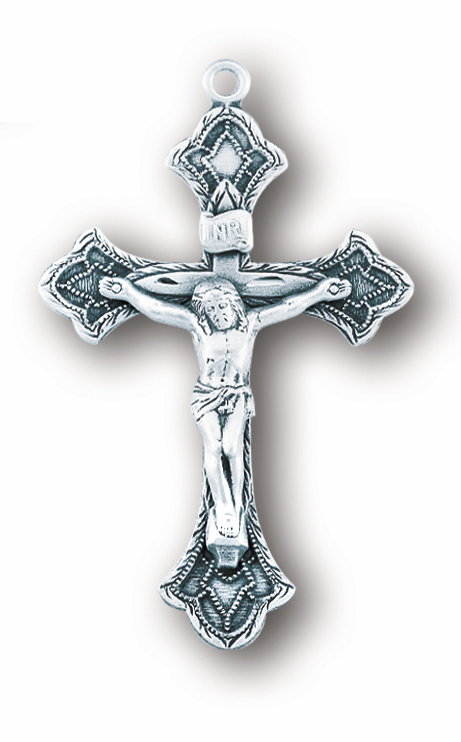 Flared Etched Tips Sterling Silver Crucifix Catholic Rosary Part by HMH Religious