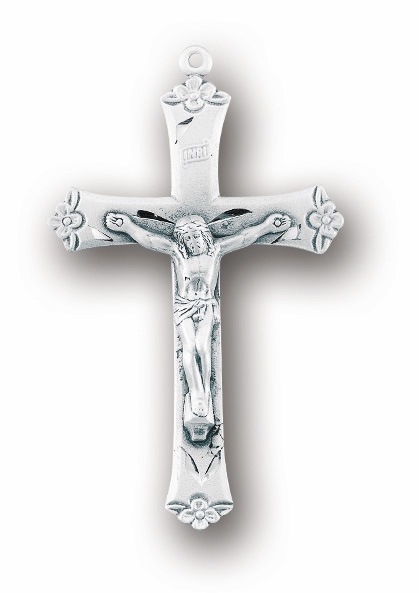 Flower Tip Sterling Silver Crucifix Catholic Rosary Part by HMH Religious