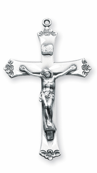 Flower Tip Sterling Silver Crucifix Pendant Necklace by HMH Religious