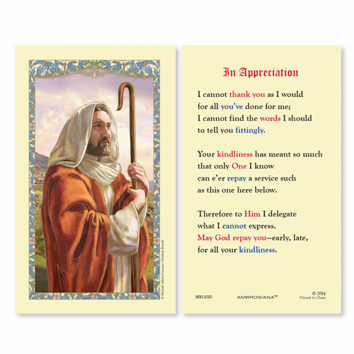 Gerffert Christ the Good Shepherd In Appreciation Holy Prayer Cards