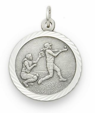 Girl's Softball Player Sterling Silver Pendant Necklace