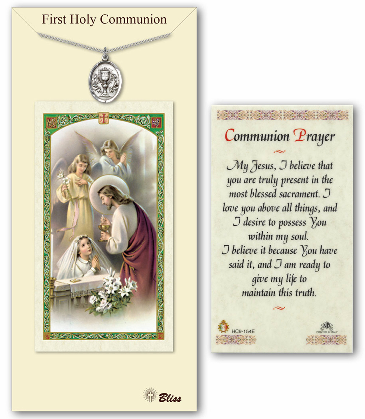 Girls First Holy Communion Prayer Card and Pewter Pendant Set by Bliss