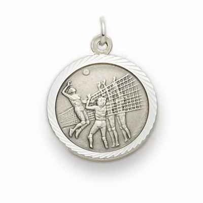 Girls Volleyball St Christopher Sterling Silver Necklace