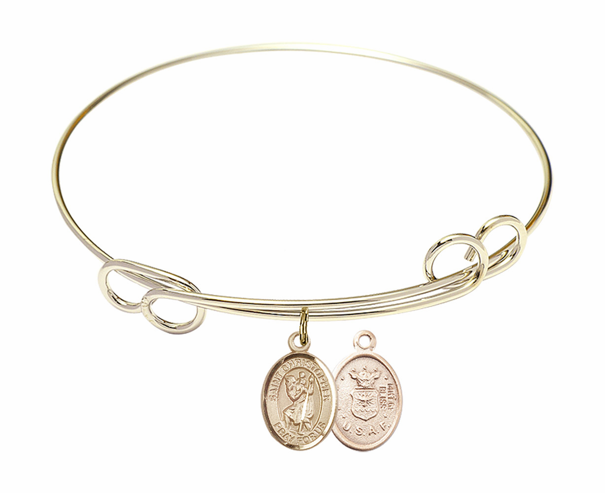 Gold-Filled Twisted St Christopher Air Force Bangle Charm Bracelet by Bliss