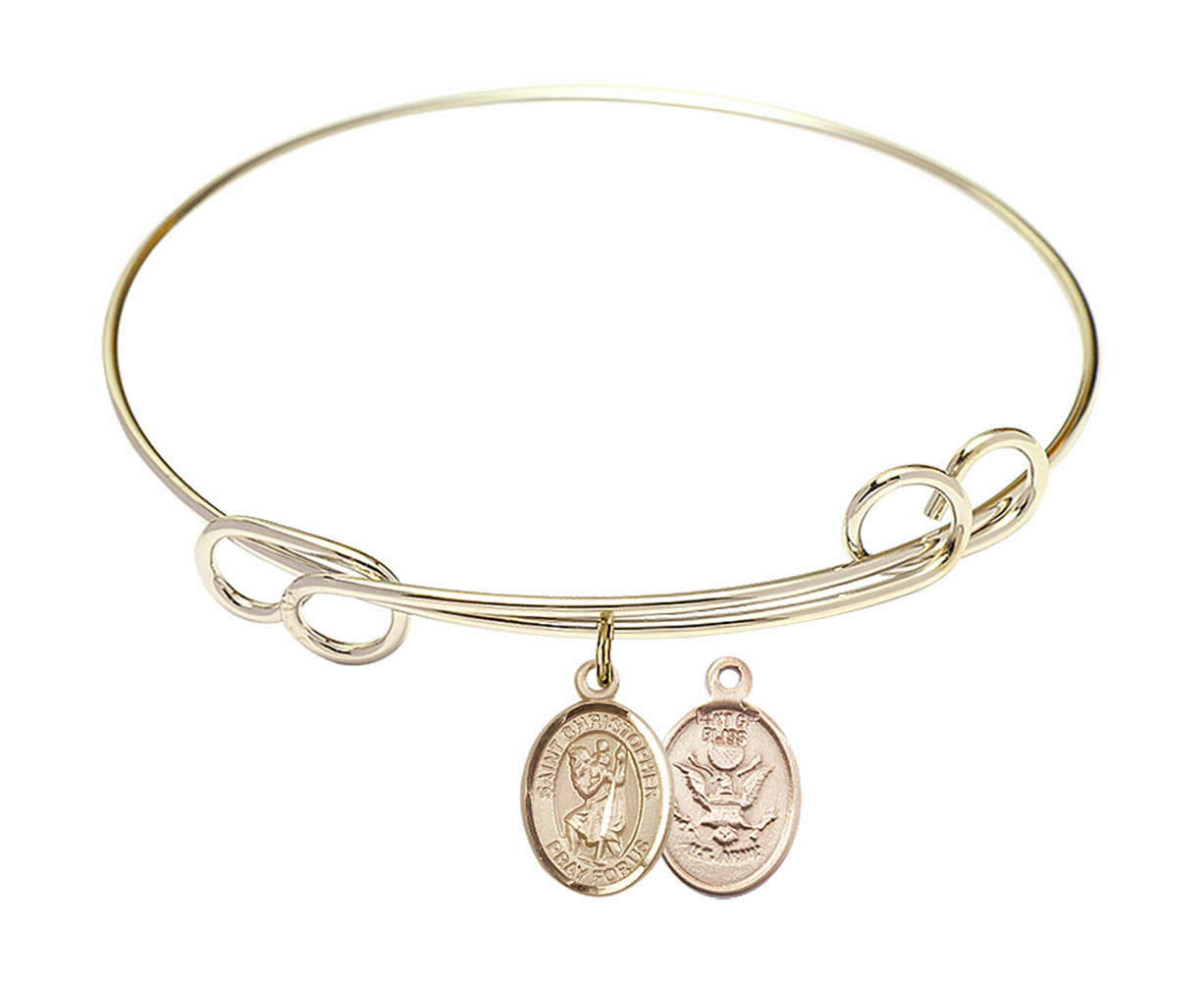 Gold-Filled Twisted St Christopher Army Bangle Charm Bracelet by Bliss