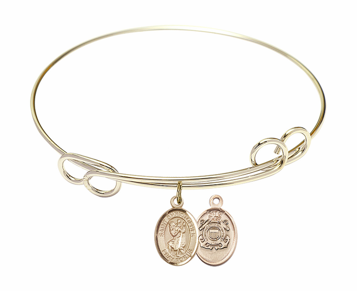 Gold-Filled Twisted St Christopher Coast Guard Bangle Charm Bracelet by Bliss
