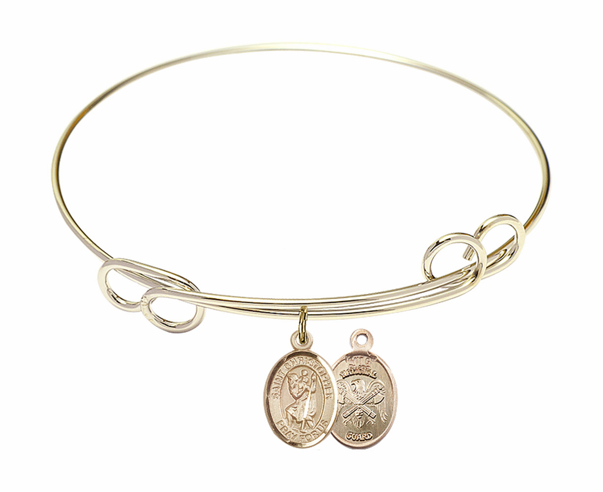 Gold-Filled Twisted St Christopher National Guard Bangle Charm Bracelet by Bliss