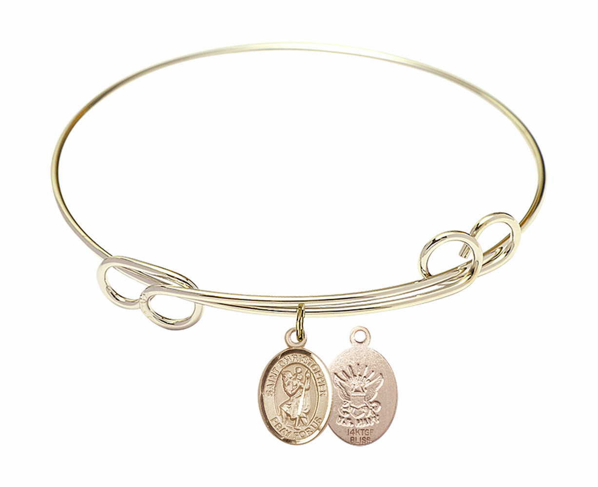 Gold-Filled Twisted St Christopher Navy Bangle Charm Bracelet by Bliss
