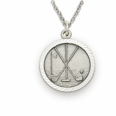 Golf Sterling Silver Pendant with Cross Necklace