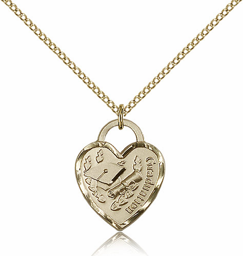 Graduation 14kt Gold-filled Heart with Hat And Diploma Necklace by Bliss