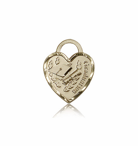 Graduation 14kt Gold Heart with Hat And Diploma Medal Pendant by Bliss