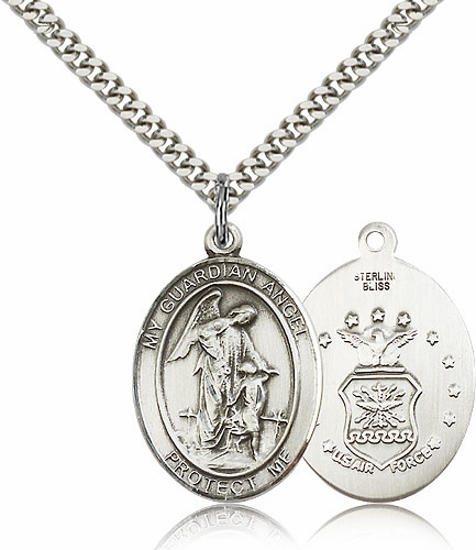 Guardian Angel Air Force Silver-filled Patron Saint Necklace w/Chain by Bliss