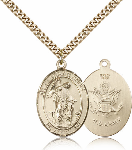 Guardian Angel Army 14kt Gold-Filled Saint Pendant Necklace by Bliss
