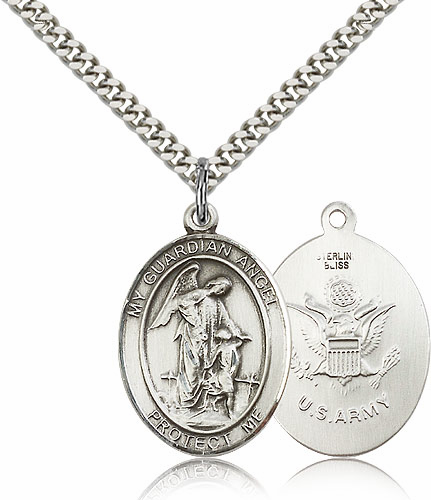 Guardian Angel Army Silver-filled Patron Saint Necklace w/Chain by Bliss