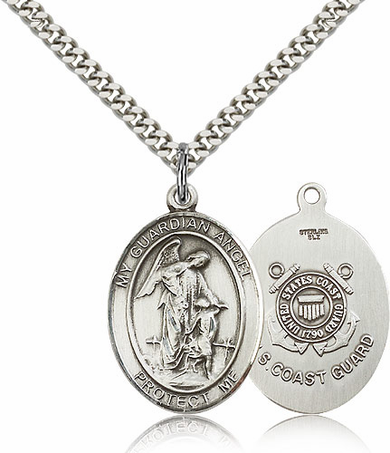 Guardian Angel Coast Guard Pewter Patron Saint Catholic Necklace by Bliss