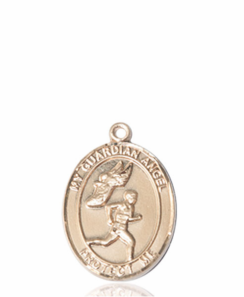 Guardian Angel Men's Track and Field 14kt Gold Sports Medal Pendant by Bliss