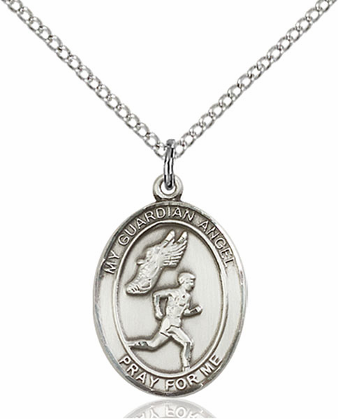 Guardian Angel Men's Track and Field Silver-Filled Patron Saint Medal by Bliss Manufacturing