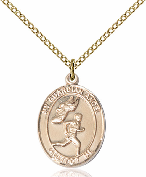 Guardian Angel Men's Track and Field Sports 14kt Gold-Filled Pendant Necklace by Bliss