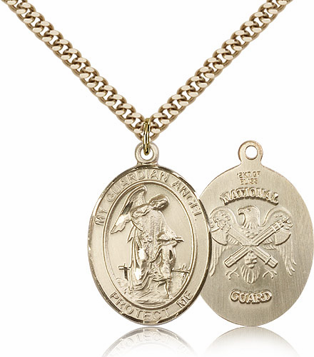Guardian Angel National Guard 14kt Gold-Filled Saint Pendant Necklace by Bliss